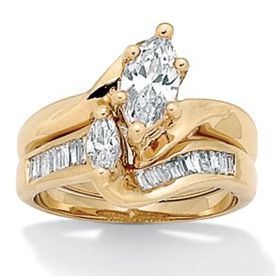 Palm Beach Jewelry Gold Plated Cubic Zirconia Wedding Ring Set
