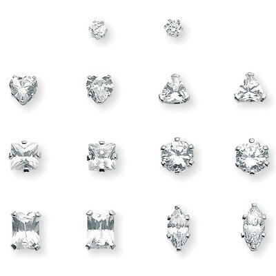 Platinum/Silver 7 Pairs of Cubic Zirconia Earring Set