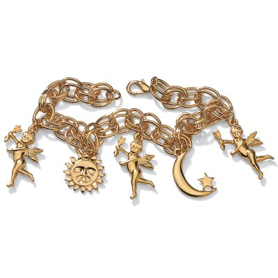 Palm Beach Jewelry Goldtone Sun, Moon and Angel Bracelet