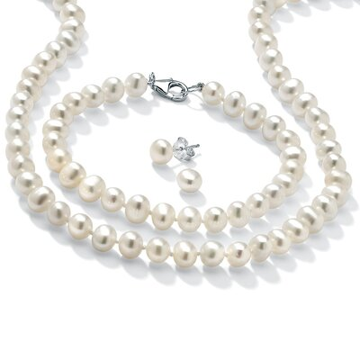 Palm Beach Jewelry Sterling Silver 3 Piece Freshwater Pearl Set