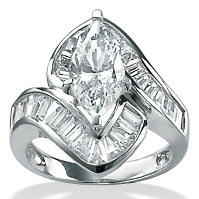 Palm Beach Jewelry Platinum/Silver Cubic Zirconia Channel Ring Set