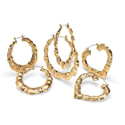 Palm Beach Jewelry Gold Plated 3 Pairs of Hoop Earrings Set