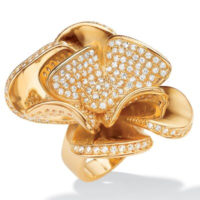 Gold Plated Diamond Ultra Cubic Zirconia Flower Ring