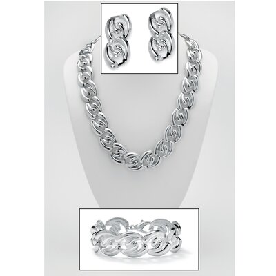 Silvertone 3 Piece Curb-Link Jewelry Set
