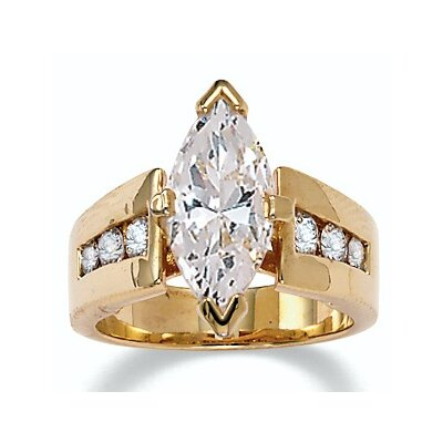18k Gold/Silver Marquise-Cut and Round Cubic Zirconia Ring