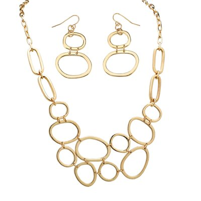 Gold Plated Multi-Circle Necklace and Earrings Set