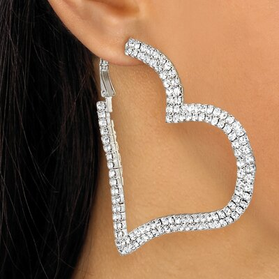 Silvertone Multi-Crystal Heart Hoop Earrings