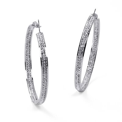 Silvertone Crystal Inside-Out Hoop Earrings