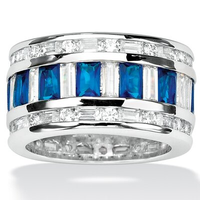 Silvertone Cubic Zirconia and Blue Glass Ring