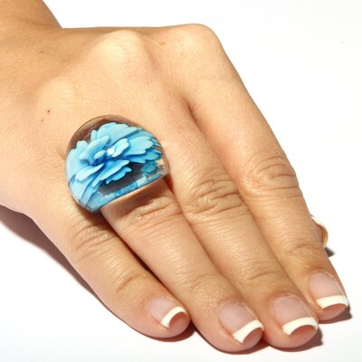 Palm Beach Jewelry Baby Blue Glass Dome Ring