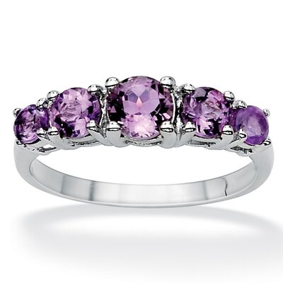 Palm Beach Jewelry Sterling Silver Graduated Amethyst Ring
