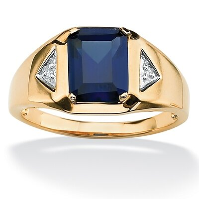 18k Gold/Silver Men's Lab-Created Sapphire Ring