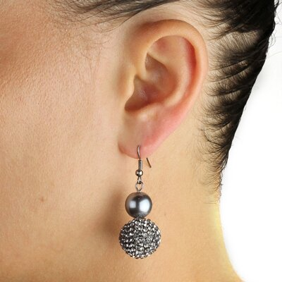Palm Beach Jewelry Black Ruthenium Simulated Pearl and Crystal Earrings