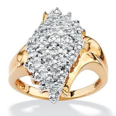 Palm Beach Jewelry 18k Gold/Silver Diamond Cluster Spray Ring