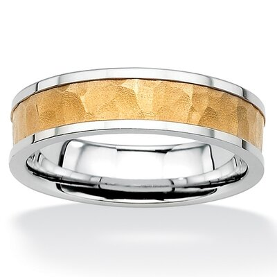 Palm Beach Jewelry Stainless Steel Hammered-Style Tutone Wedding Band