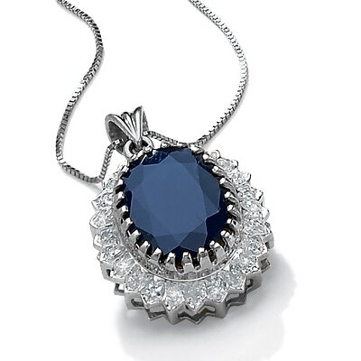 Palm Beach Jewelry Platinum/Silver Midnight Blue Sapphire Pendant