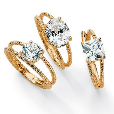 Gold Plated Cubic Zirconia Ribbed Stack Rings (Set of 3)