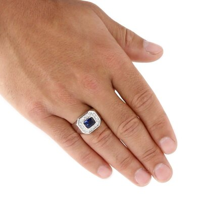 Palm Beach Jewelry Silvertone Men's Blue Glass and Cubic Zirconia Ring
