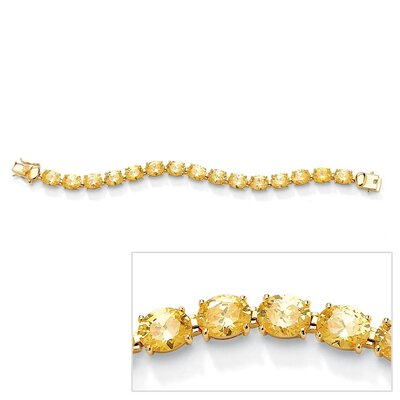 Gold Plated Canary Yellow Cubic Zirconia Tennis Bracelet