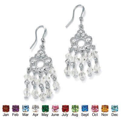 Silvertone Birthstone Chandelier Earrings