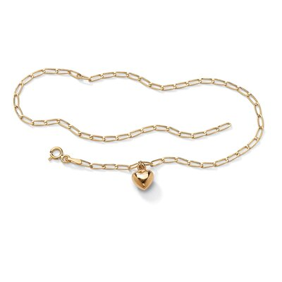 Palm Beach Jewelry Gold Heart Charm Bracelet