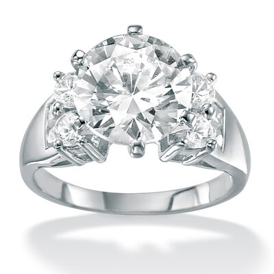 Platinum/Silver Square Cubic Zirconia Accent Ring