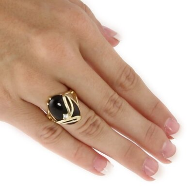Palm Beach Jewelry Gold Plated Onyx/Crystal Ring
