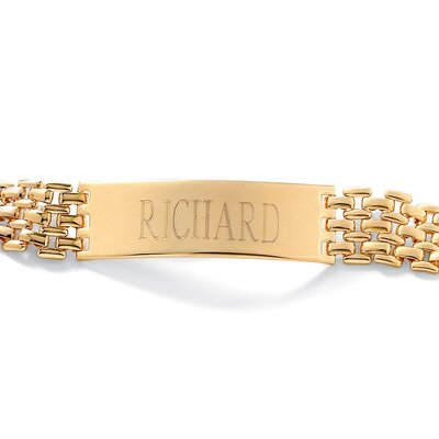 Men's I.D. 14k Gold Plated Bracelet