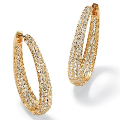 14k Gold Plated Oval Inside-Out Cubic Zirconia Huggie Earrings