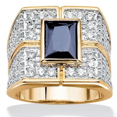 Gold Plated Men's Sapphire and Cubic Zirconia Ring