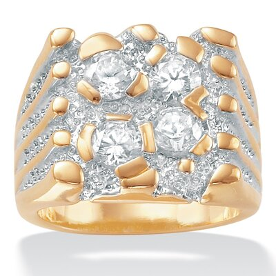 Palm Beach Jewelry Men's Cubic Zirconia 18K / Sterling Silver Nugget Style Ring