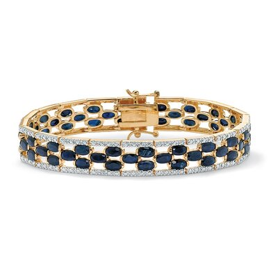 Palm Beach Jewelry Oval-Cut Sapphire Tennis Bracelet