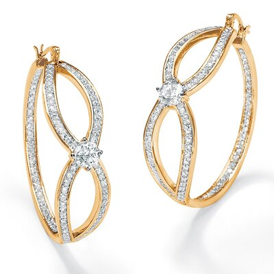 Palm Beach Jewelry Cubic Zirconia Inside - Out Hoop Pierced Earrings