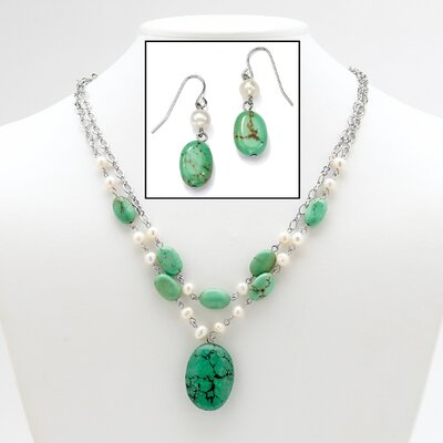 Palm Beach Jewelry Turquoise / Pearl Jewelry Set