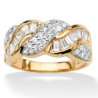 Round and Baguette Cubic Zirconia Ring
