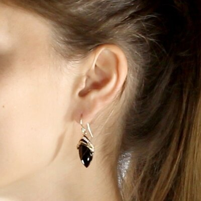 Palm Beach Jewelry Marquise-Shaped Onyx / Cubic Zirconia Earrings