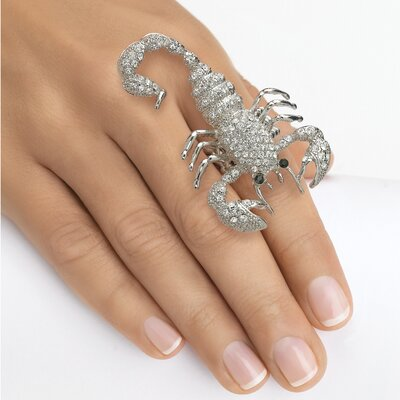 Green Crystal Scorpion Stretch Ring