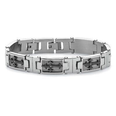 Palm Beach Jewelry Men's Cross-Link Cubic Zirconia Bracelet