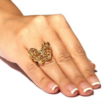 Palm Beach Jewelry Cubic Zirconia Openwork Butterfly Ring