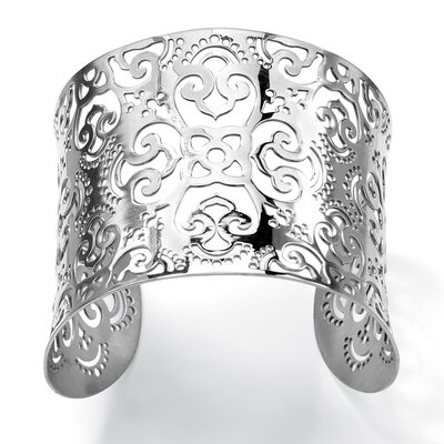 Palm Beach Jewelry Wide Floral Cutout Scrollwork Cuff
