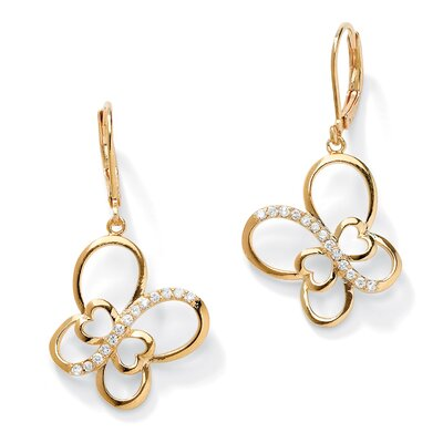 Cubic Zirconia Butterfly Openwork Drop Earrings