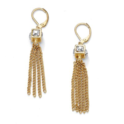 Palm Beach Jewelry Crystal Cube Multi-Chain Earrings