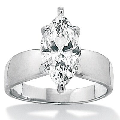 Palm Beach Jewelry Sterling Silver Marquise Cubic Zirconia Ring