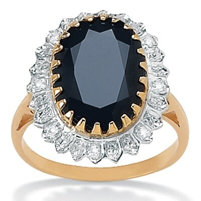 10k Gold Oval Sapphire and Diamond Ring