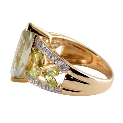 Palm Beach Jewelry 10k Gold Amethyst and Peridot Ring