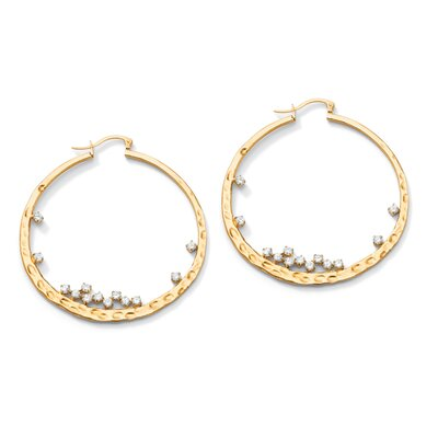 Round Cubic Zirconia Hammered Hoop Pierced Earrings