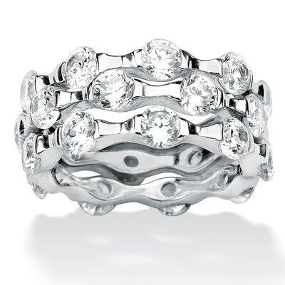 Palm Beach Jewelry Platinum Over Sterling Silver DiamonUltra Three Cubic Zirconia Ring