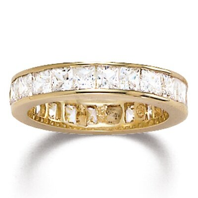 Palm Beach Jewelry Gold Cubic Zirconia Princess Eternity Band Cubic Zirconia Ring