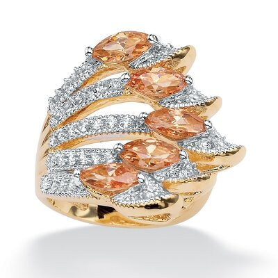 14k Gold Plated Marquise Cubic Zirconia Ring