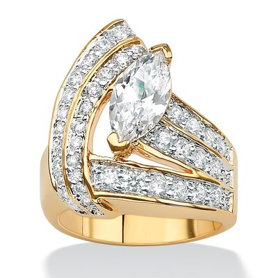 Brass Marquise and Round Cubic Zirconia Wrap Ring